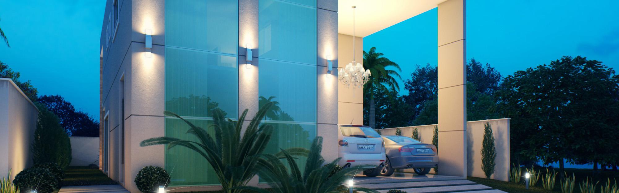 Fachada de casa de Alto padrão no condomínio Jardins Ibiza