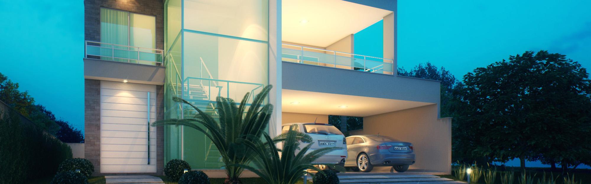 Fachada de casa de Alto padrão no condomínio Jardins Ibiza.